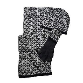 Michael Kors Women's 3 Piece Set MK Repeat Logo Scarf, Hat & Gloves
