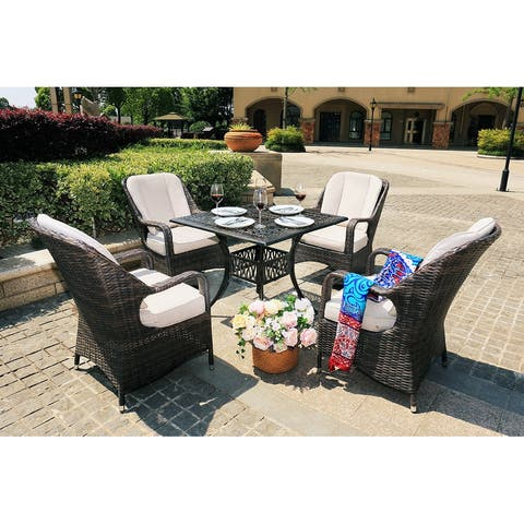 Moda 5-piece Aluminum Casting Outdoor Patio Dining Set Rattan Chairs