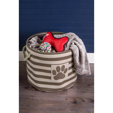 "18"" Vibrant Brown Striped Large Round Polyester Pet Bin Paw Organizer"
