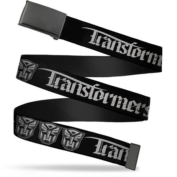 Blank Black Buckle Transformers Old English Autobot Black Gray Web Belt