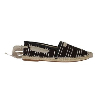 Dolce & Gabbana Black Striped Canvas Strap Loafers