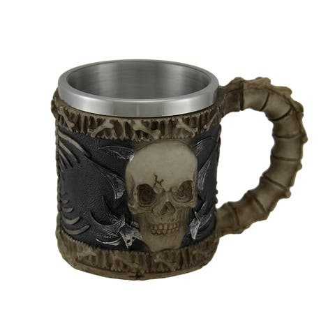 Bone Chilling Stainless Steel Lined Skull Mug w/Spine Handle - 3.75 X 5.25 X 3.25 inches