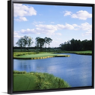 """""""Pond in a golf course, Carolina Golf and Country Club, Charlotte, North Carolina"""" Black Float Frame Canvas Art"""