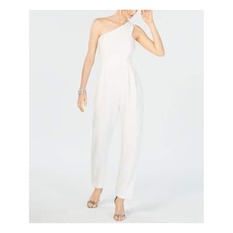 VINCE CAMUTO Womens White One Shoulder Asymmetrical Neckline Straight leg Jumpsuit Size: 12