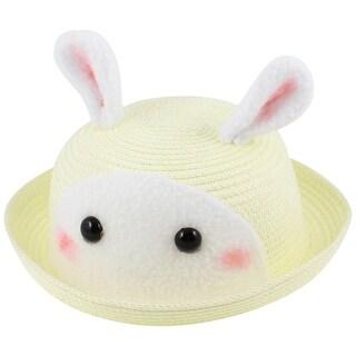 Girls Boys 9cm Depth Stretchy Band imitated rabbit Design Sun Hat Cap Beige