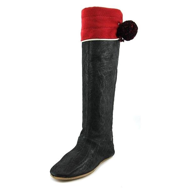 Beautiful Aubergine Babucheal Tonero Round Toe Leather Knee High Boot