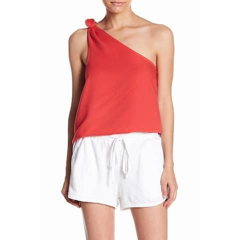 Splendid Women's Tank Top Blouse Red Size XL One-Shoulder Tie-Strap