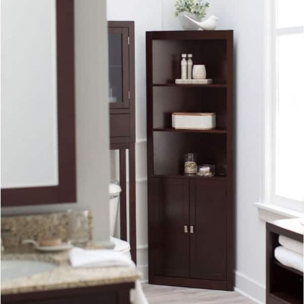 Espresso Corner Bathroom Linen Cabinet