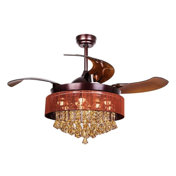 Shop Retractable 4 Blades 42 Inch Led Crystal Ceiling Fan