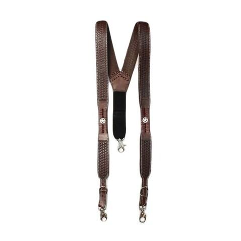 Nocona Suspenders Mens Galluse Embossed Star Sorrel