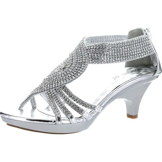 Delicacy Womens Angel-37A Open Toe Med Heel Wedding Dress Sandal Shoes - Silver