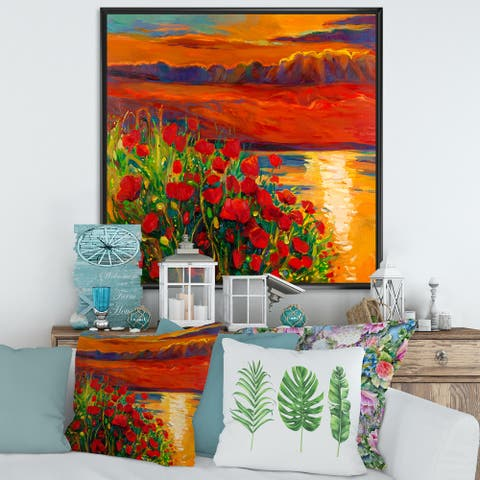 Designart 'Red Poppies By The Ocean During Sunset' Nautical & Coastal Framed Canvas Wall Art Print