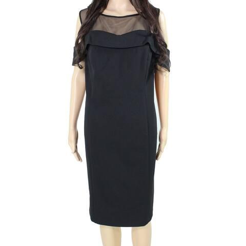R&M Richard's Womens Cold Shoulder Black Size 18W Plus Sheath Dress