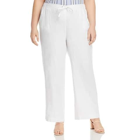 Vince Camuto Womens Plus Linen Pants Wide Leg High Rise - Ultra White