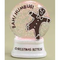 """4.5"""" LED Lighted Color Changing Christmas Bites! Gingerbread Glitterdome - White"""
