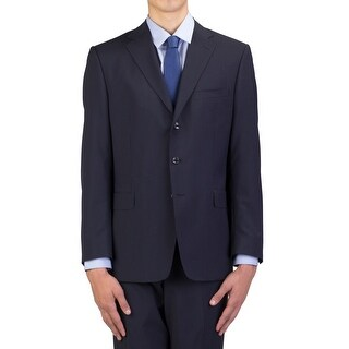 Versace Collection Men's Wool Three-Button Suit Navy Blue Pinstriped