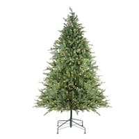 6.5' Pre-Lit Hunter Fir Full Artificial Christmas Tree - Clear Lights - green