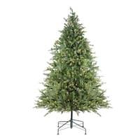 9' Pre-Lit Hunter Fir Full Artificial Christmas Tree - Clear Lights - green