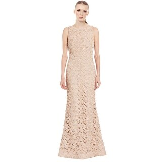Alice & Olivia Kacie Embroidered Beaded Lace Evening Gown Dress