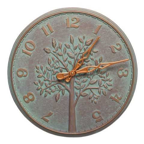 Whitehall Tree of Life 16-In Indoor Outdoor Wall Clock (Copper Verdigris) - copper verdigris