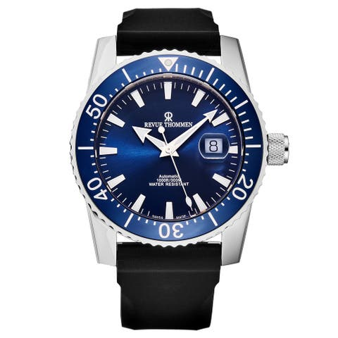 Revue Thommen Men's 17030.2535 'Diver' Blue Dial Rubber Strap Swiss Automatic Watch