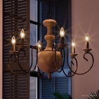 """Luxury French Country Chandelier, 22.5""""H x 29""""W, with Colonial Style, Grey-Washed Real Wood Design, Antique Black Finish"""