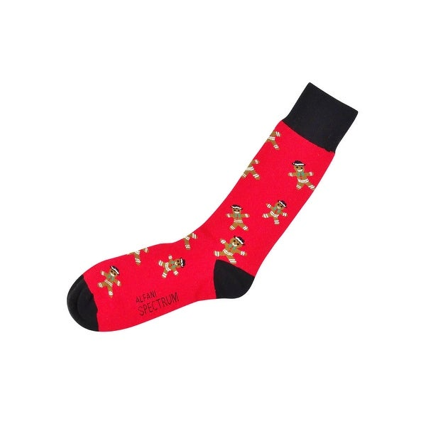 Alfani Men's Spectrum Gingerbread Crew Socks (Red, 10-13) - Red - 10-13