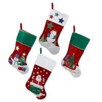 """Pack of 8 Velvet Santa, Snowman and Sleigh Christmas Stockings 20.5"""" - multi"""