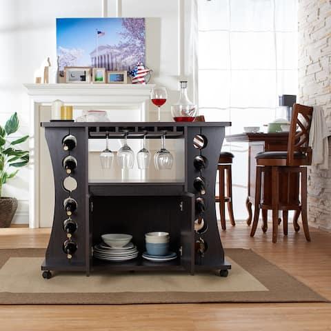 Furniture of America Modern Espresso Buffet with Wine Rack
