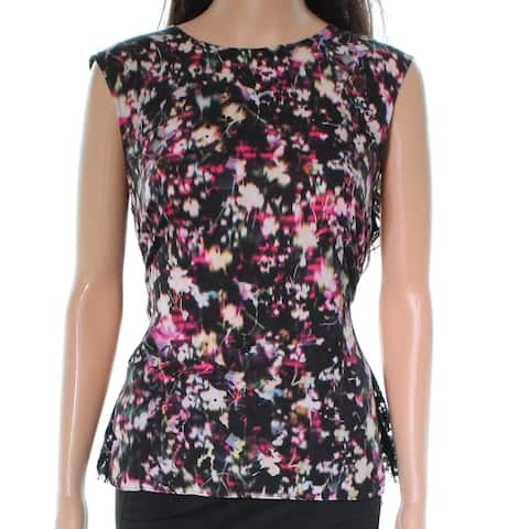 French Connection Black Printed Women Large L Laced Back Blouse