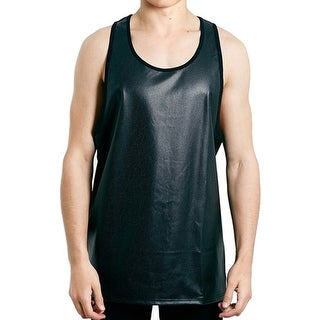 Topman NEW Black Mens Size Large L Tank Contrast Perforated Shirt