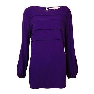Studio M Women's Tiered Bishop-Sleeves Top - new purple - l
