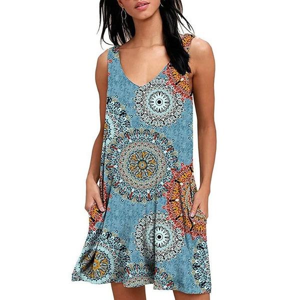 Short Batik Umbrella Sundress With Pockets One Size Fits S-XL