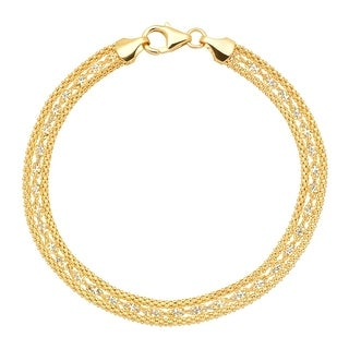 Just Gold Twisted Link Band Chain Bracelet in 10K Gold - Yellow