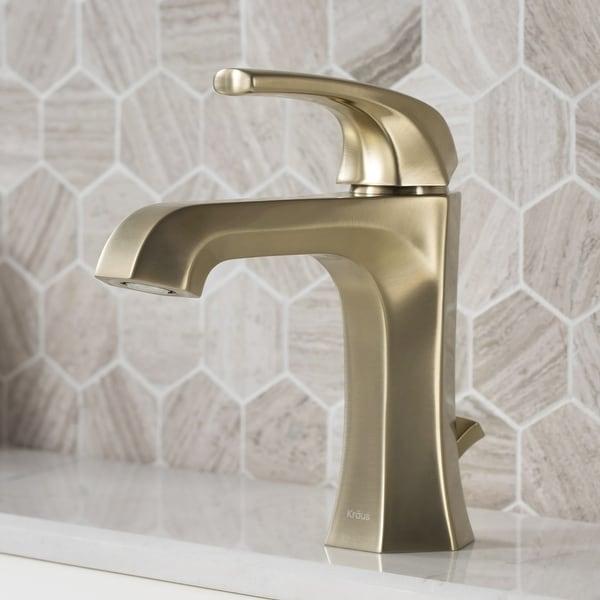 KRAUS Esta Single Handle 1-Hole Bathroom Faucet w/ Lift Rod Drain. Opens flyout.