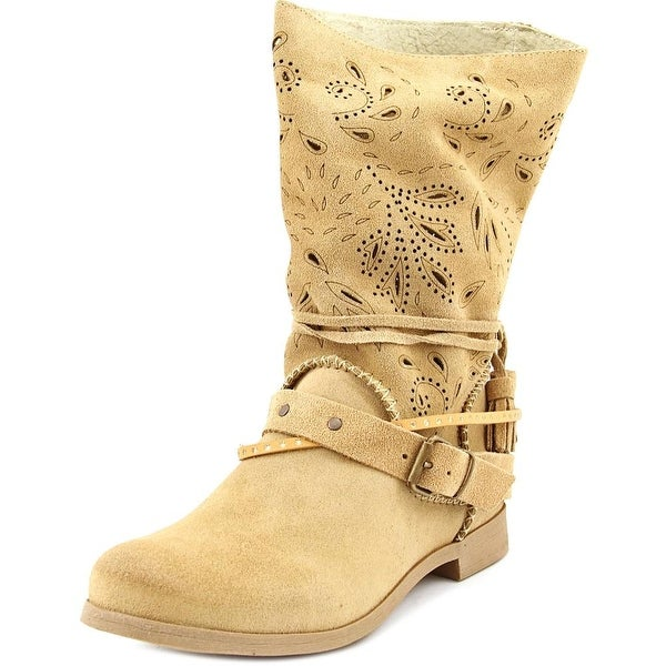 Coolway Nimfa Women Round Toe Suede Tan Mid Calf Boot