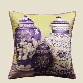 "Luxury Purple Three Vase Printing Pillow 18""X18"""