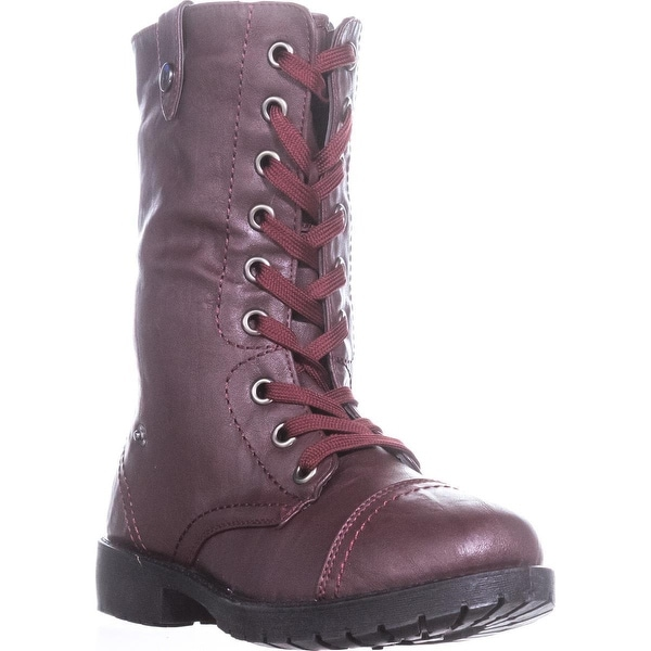 Wanted Colorado Knit Combat Boots, Burgundy - 7 us