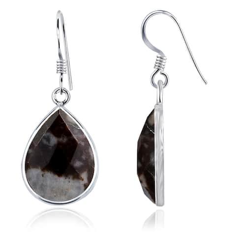 Outback Jasper Sterling Silver Pear Dangle Earrings By Essence Jewelry