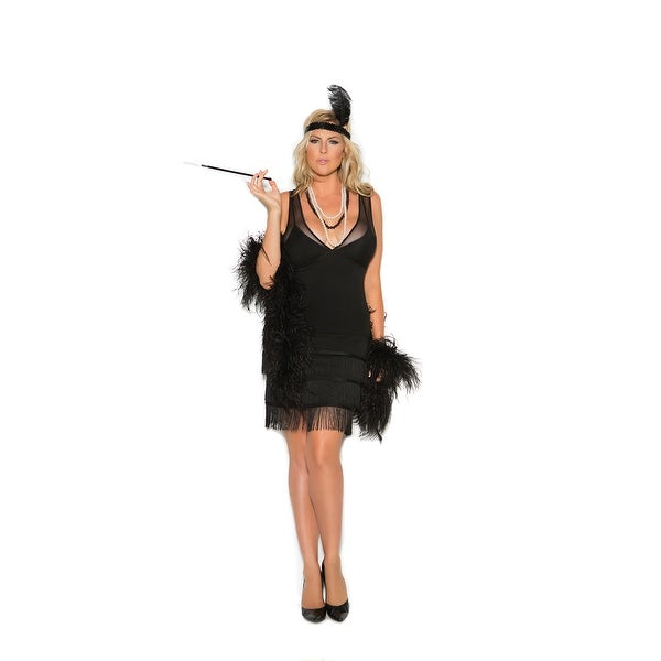 d7f777f63f Shop Flapper - 2 pc costume includes dress with fringe and sequin head  piece with feather - Color - Black - Size - 1X 2X - Free Shipping Today -  Overstock - ...