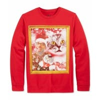 American Rag CIE NEW Red Mens Small S Cat Portrait Crewneck Sweater