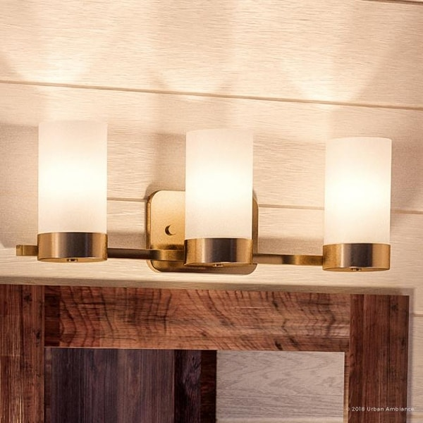 """Luxury Contemporary Bathroom Vanity Light, 7.5""""H x 24.75""""W, Mid-Century Modern Style, Brushed Bronze Finish by Urban Ambiance"""