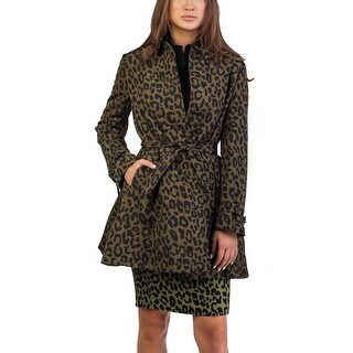 Prada Women's Silk Cheetah Print Trench Coat Green - 6
