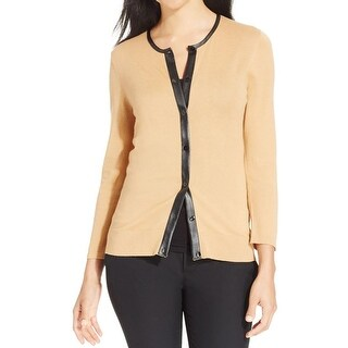 August Silk Womens Cardigan Sweater Faux Leather Trim Button-Down