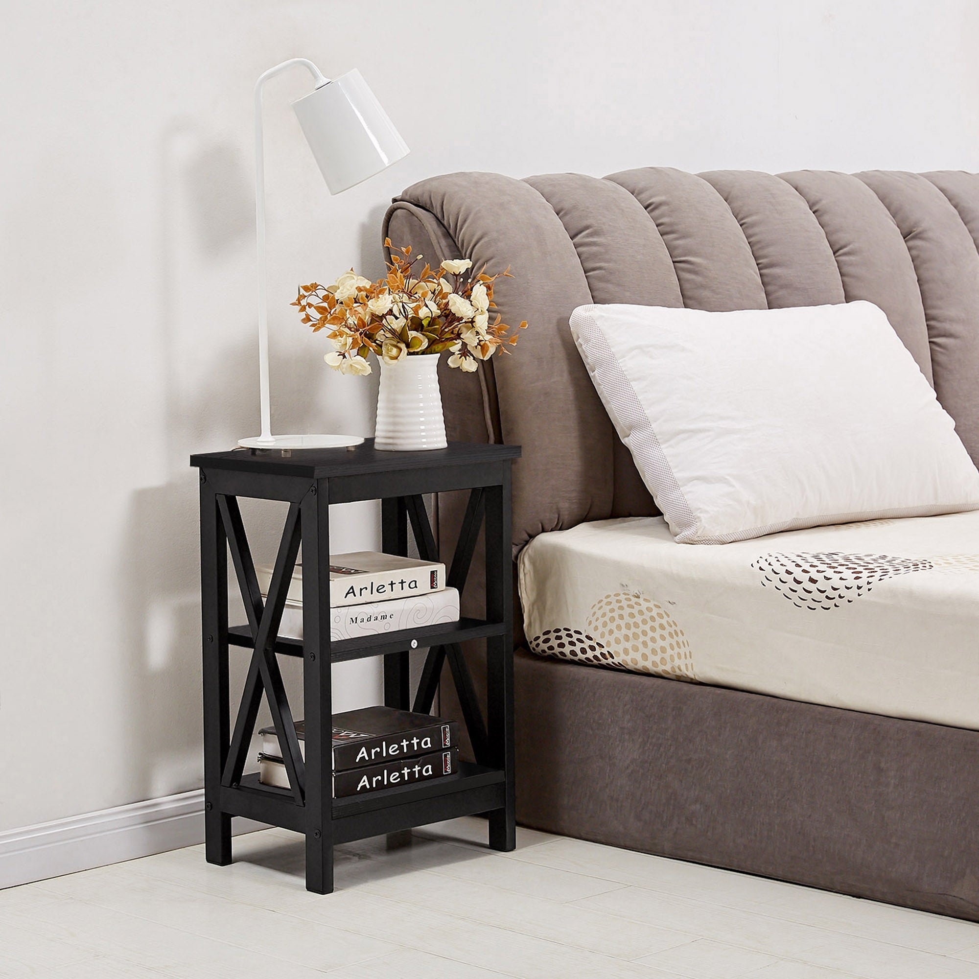 Vecelo 3 Tier Nightstand Bedside Table Sofa Table End Table X Frame Black Brown 2 Options Overstock 27468613 Black