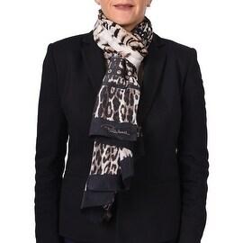 Roberto Cavalli Women's Leopard Skin Patterned Silk Scarf Brown - One Size