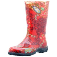 Sloggers 5004RD10 Women's Rain And Garden Boots, Paisley Red, Size 10