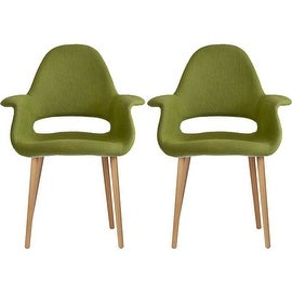 2xhome - Set of Two (2) - Green - Upholstered Organic Arm Chair Armchair Fabric Chair Green with Light brown Natural Wood Legs