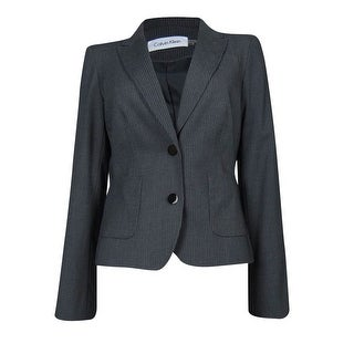 Calvin Klein Women's Pocketed Pinstripe Blazer - Charcoal/White