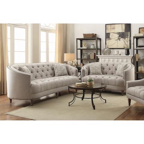 Veronica Light Grey 2-piece Fabric Living Room Set